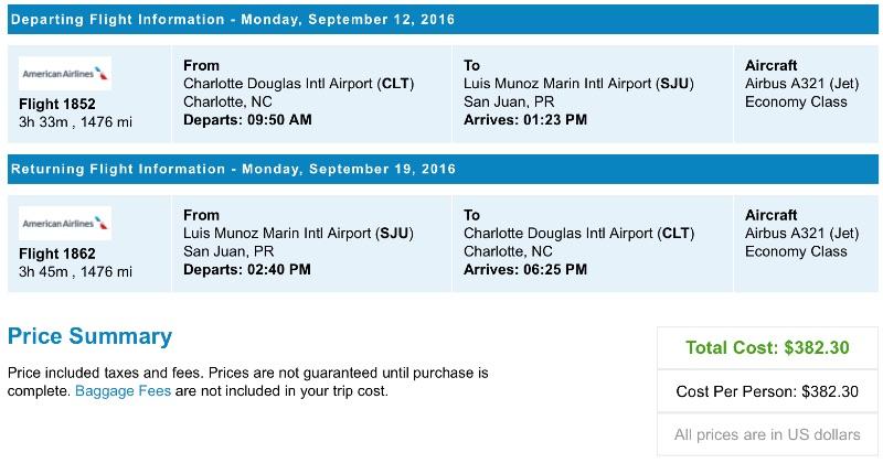 Charlotte to San Juan