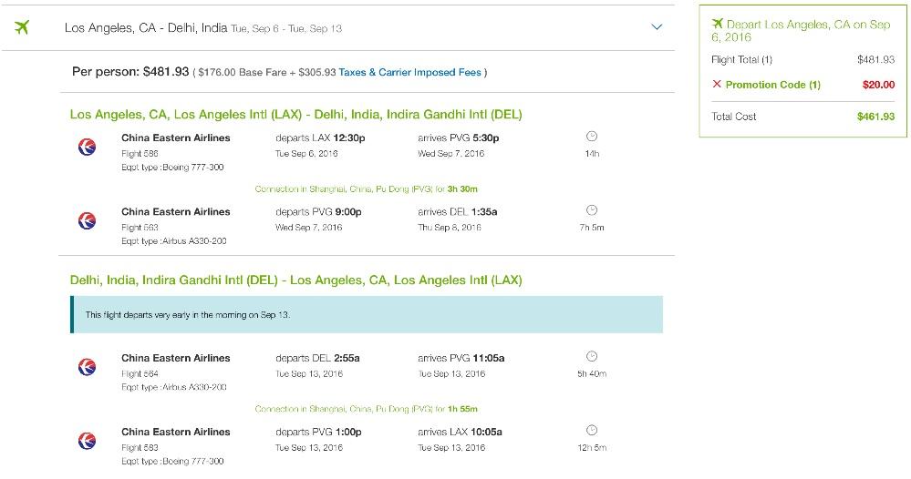 Los Angeles to Delhi, India