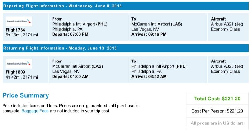 Philadelphia to Las Vegas