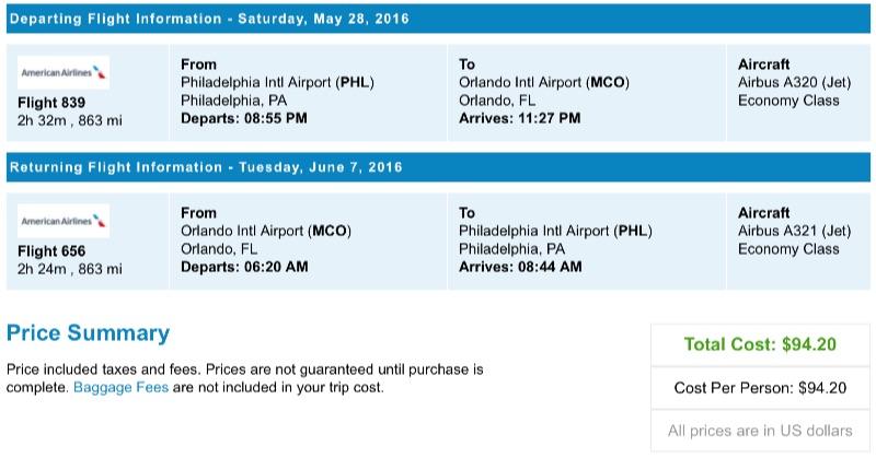 Philadelphia to Orlando