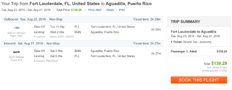 Miami to Aguadilla