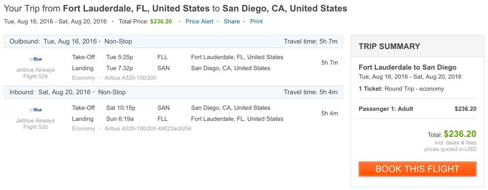 Miami to San Diego