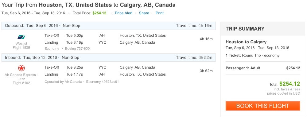 Houston to Calgary