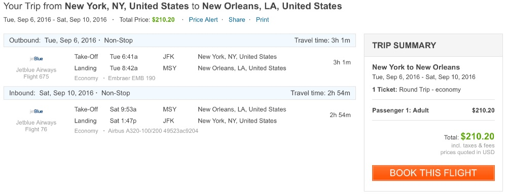 New York to New Orleans