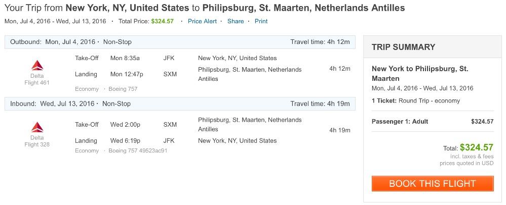 New York to Saint Maarten