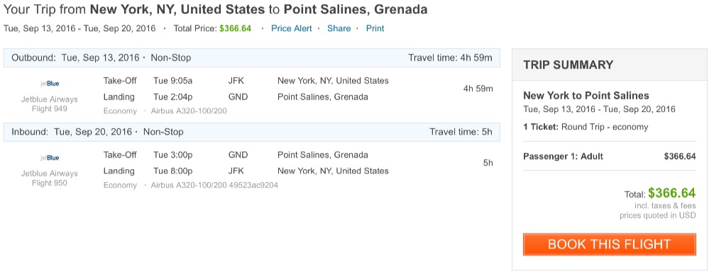 New York to Grenada
