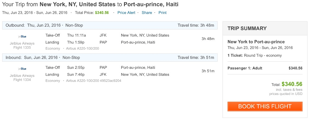 New York to Port Au Prince
