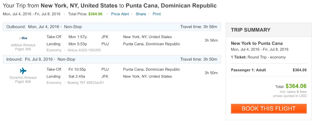 New York to Dominican Republic