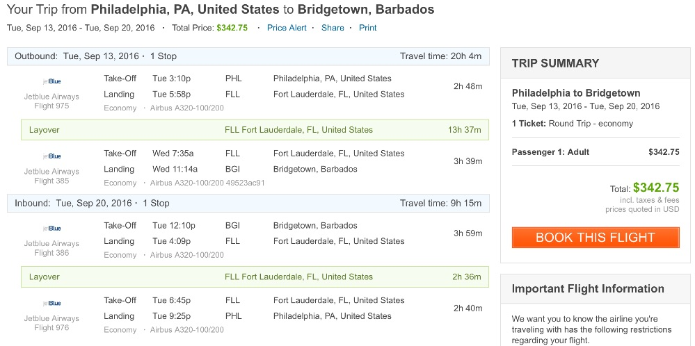 Philadelphia to Barbados