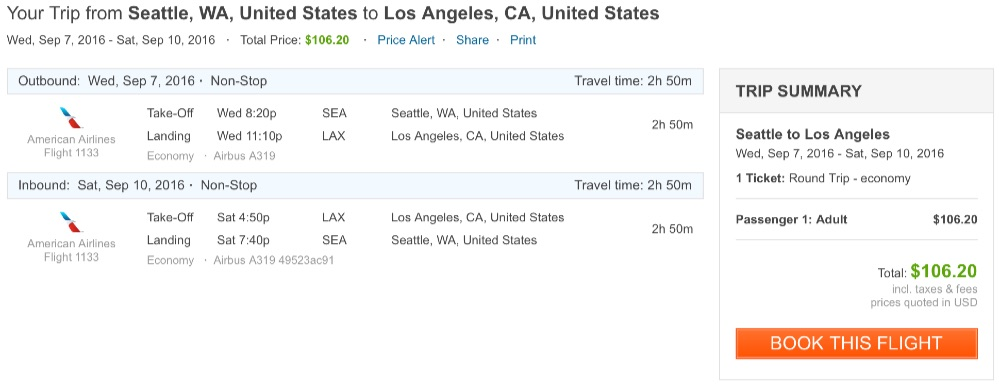 Seattle to Los Angeles