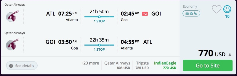 Atlanta to Goa