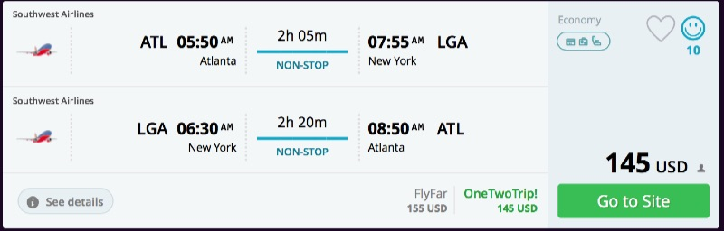 Atlanta to New York