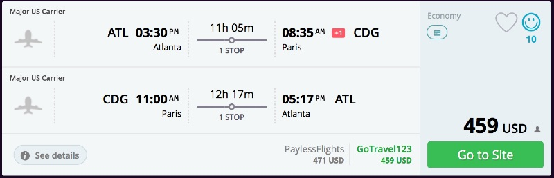 Atlanta to Paris
