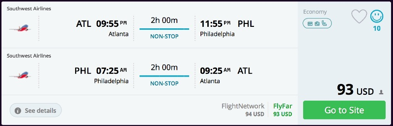 Atlanta to Philadelphia