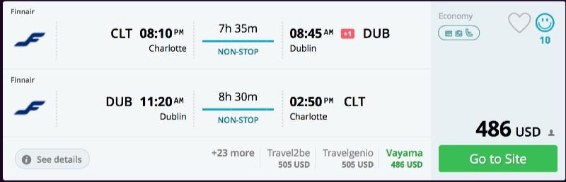 Charlotte to Dublin