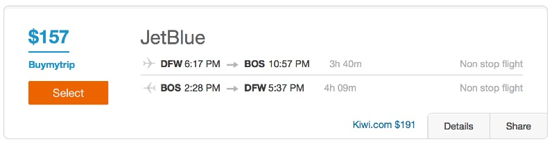 Dallas to Boston