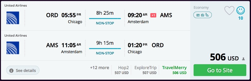 Chicago to Amsterdam