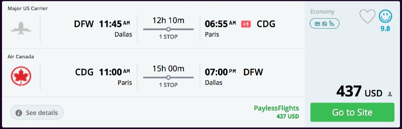 Dallas to Paris