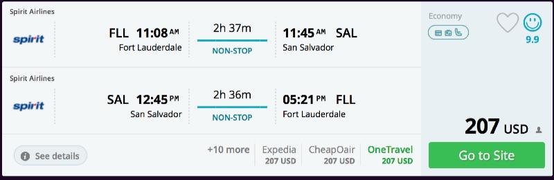 Miami to San Salvador