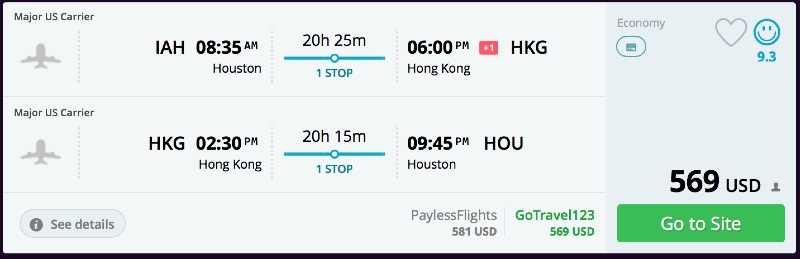 Houston to Hong Kong