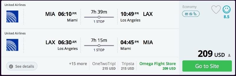 Miami to Los Angeles