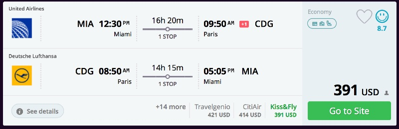 Miami to Paris
