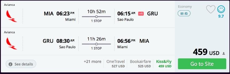 Miami to Sao Paulo, Brazil