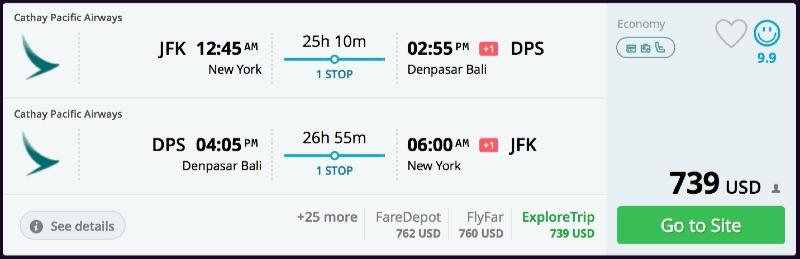New York to Bali