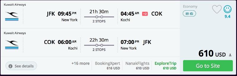 New York to Kochi