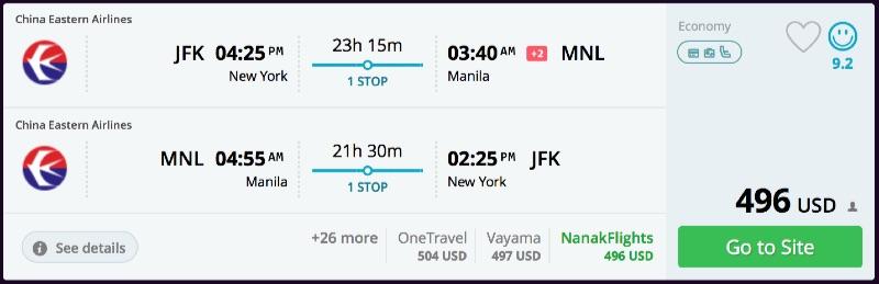 New York to Manila, Philippines