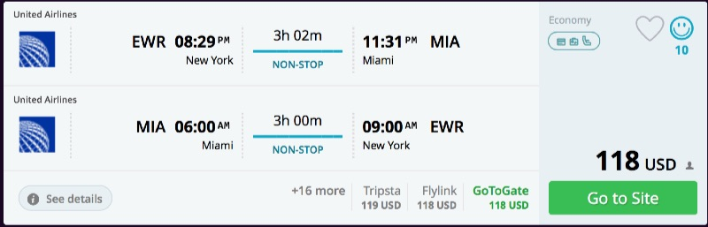 New York to Miami