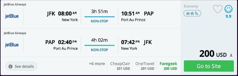 New York to Haiti