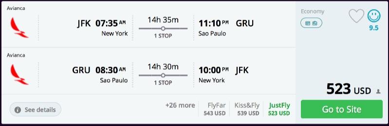New York to Sao Paulo