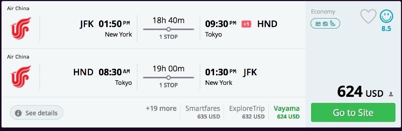 New York to Tokyo