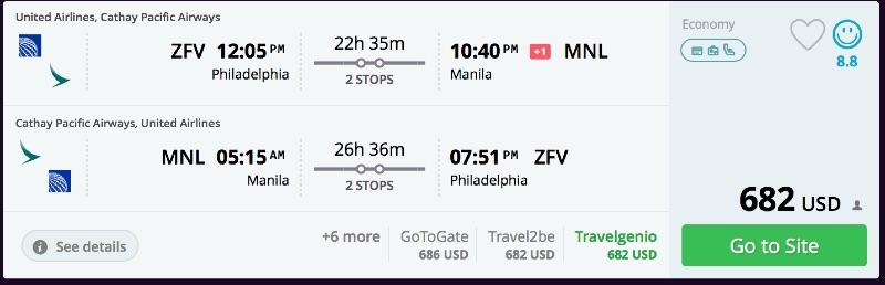 Philadelphia to Manila