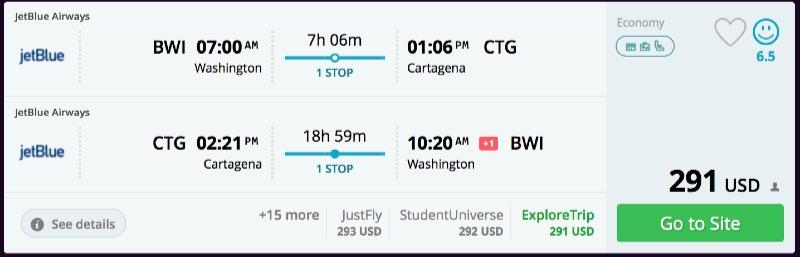 Washington to Cartagena