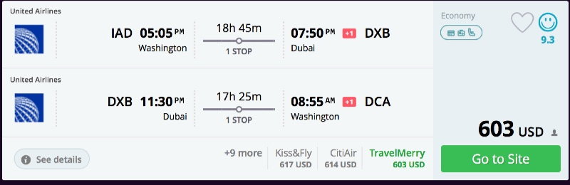 Washington to Dubai