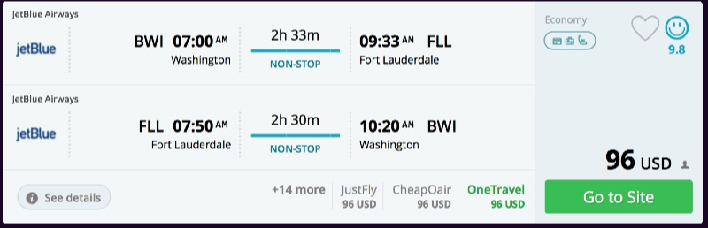Washington to Miami