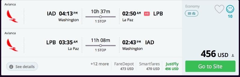 Washington to La Paz, Bolivia