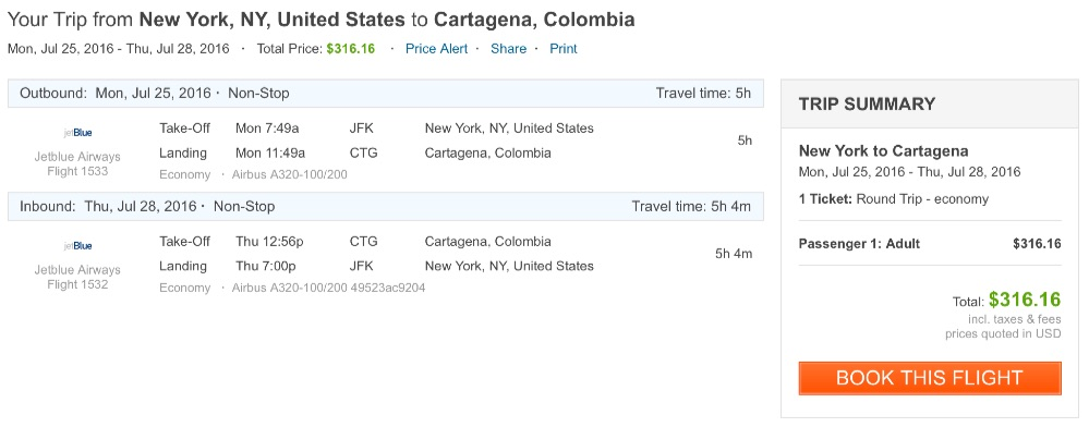 New York to Cartagena, Colombia
