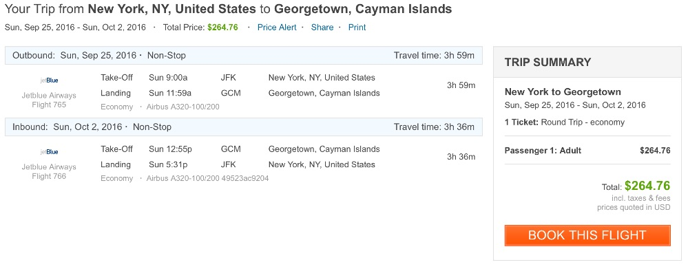 New York to Grand Cayman