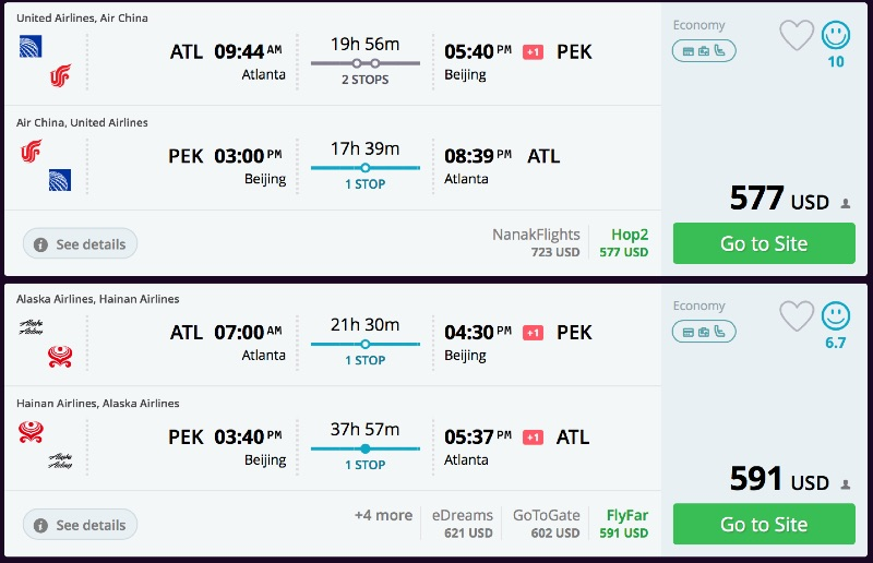 Atlanta to Beijing