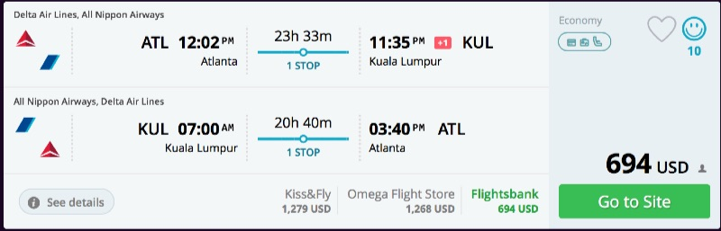 Atlanta to Kuala Lumpur