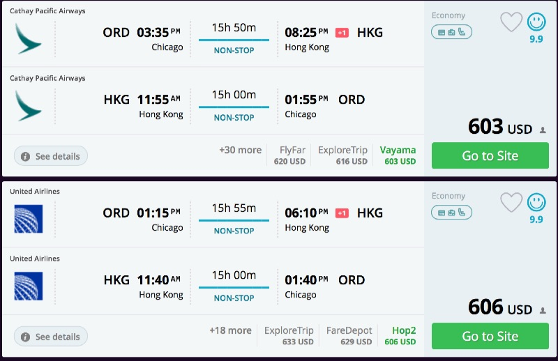 Chicago to Hong Kong