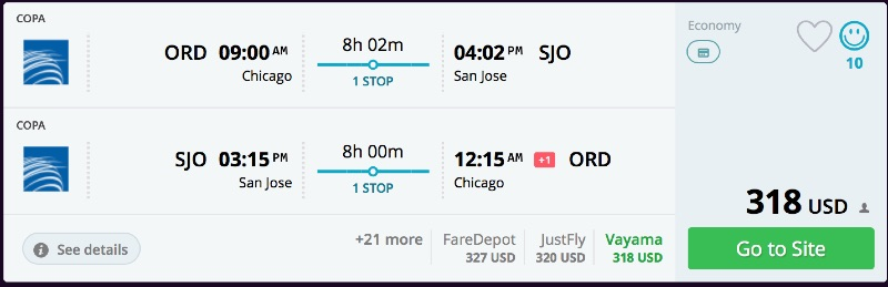 Chicago to San Jose, Cost Rica