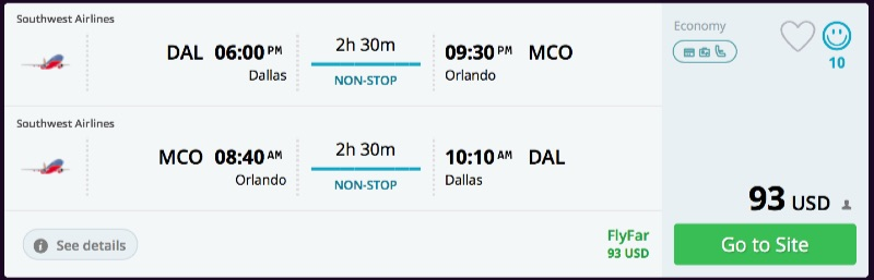 Dallas to Orlando