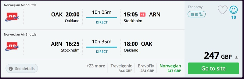 Oakland to Stockholm