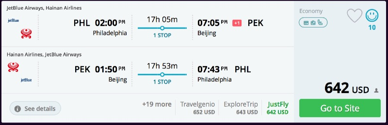Philadelphia to Beijing