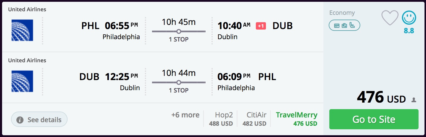 Philadephia to Dublin