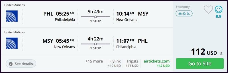 Philadelphia to New Orleans